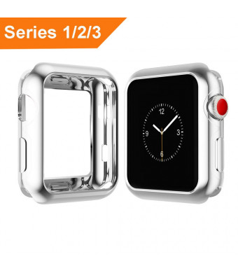 MIFFO for Apple Watch Case 38mm 42mm, Silm Scratch-Resistant Soft TPU Plated Lightweight Protector Case for iWatch Series 3/Series 2/Series 1 (Clear, 42mm)
