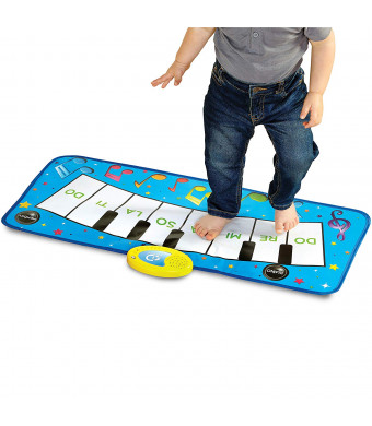 Discovery Kids Play Piano Keyboard Music Mat w/ Built-in Children's Songs and Memory Playback, Fold Up/Rollup Floor Mat w/ Oversized Keys for Hands, Feet, and Dancing; Interactive and Educational Toy