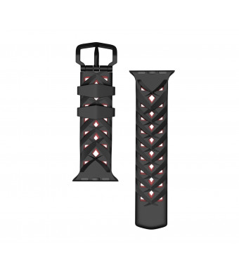 MoKo Compatible Band Replacement for Apple Watch 42mm 44mm Serier 4/3/2/1 42mm 44mm, Soft Silicone Rhombus Three-Row Hole Double Color Strap - Black + Red (Not fit 38mm 40mm Versions)
