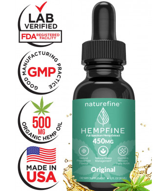 Hemp Oil for Pain Relief - Zero THC CBD Cannabidiol (450 MG) Full Spectrum Hemp Oil - Natural Anxiety Relief, Sleep and Stress Support - Peppermint - Hempfine - Proudly Grown and Made in USA