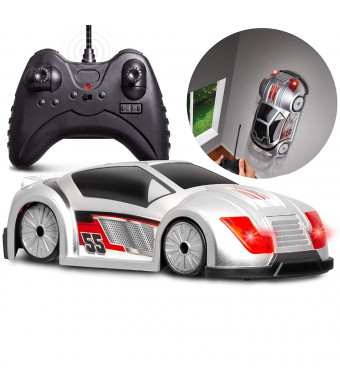 Black Series Mini RC Xtreme Wall Racer Race Car Toy, Grips On Floor/Ceiling/Walls, High Speed Performance, Full Function Wireless Remote Control, Built in Lights/Radio Frequencies, Perfect for Kids