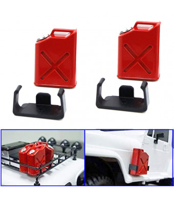 ShareGoo 2PCS 1/10 Scale RC Rock Crawler Accessory Plastic Mini Fuel Tank for 1/10 Axial Wraith SCX10 EXO AX10 Truck Accessory (Red)