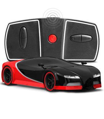 Sharper Image Miniature Toy RC Italia Sports Car 1:50 Scale Luxury Cars-Inspired Design LED Headlights and Brake Lights, Red Black, Long Range 2.4 GHz Frequency Remote Control