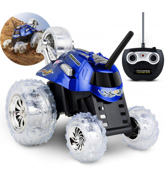 Black Series 27MHz Children's Remote Control Spinning 360 Rotating Car Toy for Boys/Girls, Stunt RC Race Truck, for Two-Vehicle Fun, Combine with Black, Incompatible with Red - Blue