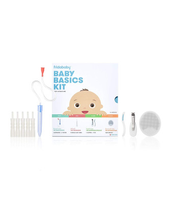 Baby Basics Care Kit by Fridababy | A Registry Must Have Gift Set Includes NoseFrida, NailFrida, Windi, DermaFrida and Silicone Carry Case - A Great Value to Keep Your Baby Healthy and Clean