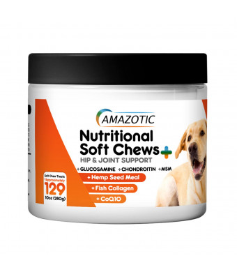 Hip and Joint Supplement for Dogs, Glucosamine, Chondroitin, MSM, CoQ10, All Natural Soft Chews - Hemp Seed Meal Aids Digestion, Fish Collagen, Chicken Flavor, Made in USA by Amazotic