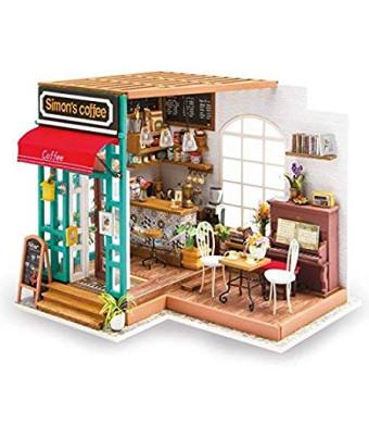 Hands Craft Wooden Dollhouse 3D Puzzle Kit for Adults and Kids, Miniature Furniture (Simon's Coffee)