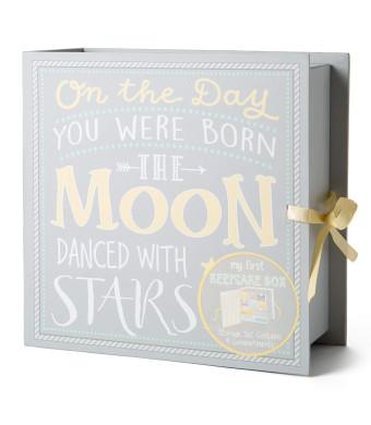 Baby Milestone Keepsake Storage Box: Track Treasured Memories - Moon and Stars