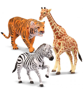 "Kid Galaxy 9"" Posable Safari Animal Set  Tiger, Zebra, Giraffe 9"" (3 Piece), Orange, Yellow, Brown, Black, White"