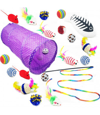 FURBR 20 Piece Cat Kitten Toy Interactive Mouse Teaser Wand Tunnel Balls Variety Pack Prime Toy Tunnel Kitty Cheap Assortment Fun Safe Natural Sisal Mouse Fish Feather Crinkle Exercise
