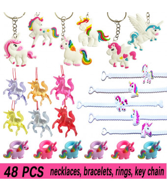 TRAONOR Unicorn Party Supplies (Bracelets, Necklaces, Keychains, Rings), Unicorn Party Favors