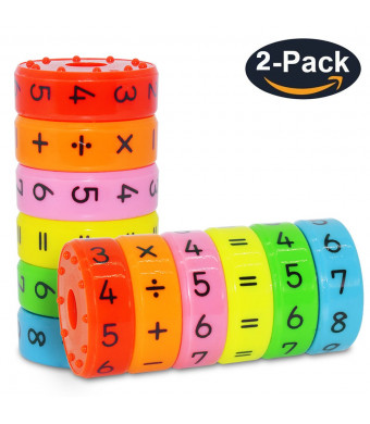 CHILHOLYD Magnetic Math Toy, 2 Sets/ 12 Pieces Magnetic Numbers and Symbols Math Skills Colorful Fridge Magnets Kindergarden Educational Tools Math Blocks Learning Toys for Kids