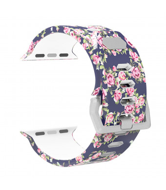XiangMi Print Colorful Replacement Sport Band Compatible with Apple Watch Series 4/3/2/1,Soft Silicone Sport Style Wristband Strap Bands Compatible with Apple Watch 38mm 40mm 42mm 44mm