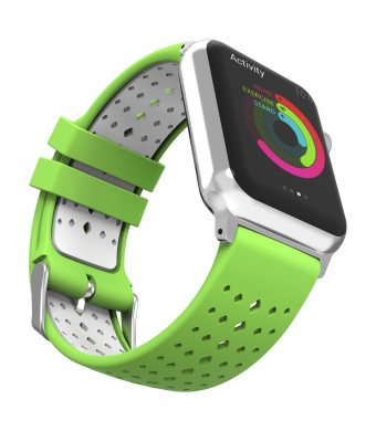 MoKo Compatible Band Replacement for Apple Watch 42mm 44mm Serier 4/3/2/1, Soft Silicone Rhombus Hole Double Color Replacement Sports Strap and Connector - Lime + White (Not fit 38mm 40mm Versions)