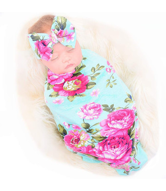 Galabloomer Newborn Receiving Blanket Headband Set Flower Print Baby Swaddle Receiving Blankets