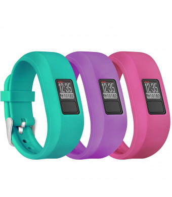 Mosstek Garmin Vivofit 3 Vivofit Jr Bands with Buckle, Silicone Replacement Watch Bands for Garmin Vivofit 3 Vivofit Jr and Vivofit Jr 2 (No Tracker) (3PC:Teal Green/Purple/Pink, Small)