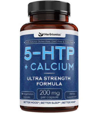 2X Potent 5-HTP 200 mg Supplement with Calcium - 120 Vegetarian Capsules l Promotes Serotonin Synthesis l 5htp Mood Enhancer and Cortisol Health for Women and Men