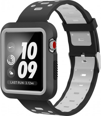 SELLERS360 for Apple Watch Band 42mm with Case for Series 1 Series 2 Series 3,Soft Durable Nike + Sports Edition Replacement Wrist Strap for iWatch 42mmM/L (Black / Grey 42mm)