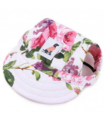 YJYdada Dog Hat, Dog Hat with Ear Holes Summer Canvas Baseball Cap for Small Pet Dog Outdoor