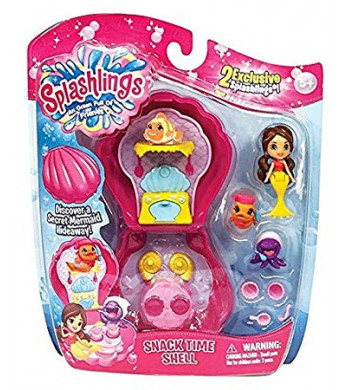 Splashlings Mermaid Shell Time Playsets - Travel Shell Set Includes 2 Exclusive, Accessories And Mermaid (Assorted Snack Time Or Dream Time)