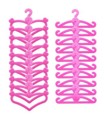 BJDBUS 60 Pcs Pink Plastic Hangers for 11.5 inch Doll Clothes Gown Outfit Holders Accessories
