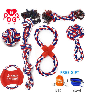 4legsfriend Dog Rope Toys Pack for Medium Large and XL Dogs Who Love to Play Rough and are Aggressive Chewers. Strongest, Washable Cotton Tough Chewing Toys + Bonus