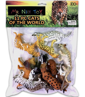 "Mr. Nice Toy 11 Piece Cats of the World Assortment 3"" to 6"" figures"