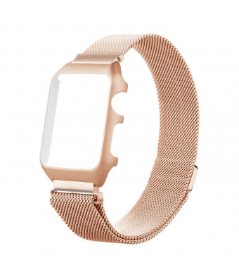 Miga for Apple Watch Case Cover Ultra Metal Bumper Frame Thin Bumper for Milanese Loop Smart Watch Band Replacement Frame Housing iWatch Series 1/2/3 38mm Men/Women (Rose Gold, 38mm-Band)
