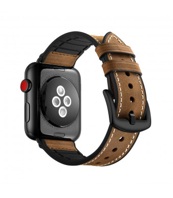 Apple Watch Band, Wollpo Vintage Leather Replacement Bands Stylish Straps with Stainless Metal Buckle Clasp for Apple Watch Series 3 Series 2 Series 1 Sport and Edition (Hybrid Leather 42mm 44mm)