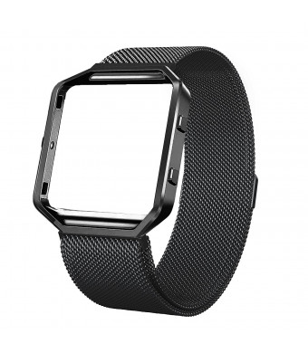 For Fitbit Blaze Accessory Band Miga Frame Housing+Milanese loop Stailess Steel Band for Fitbit Blaze Smart Watch Fitness Tracker Women (Black, S)