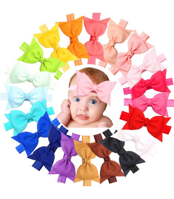 "20pcs Baby Girls headbands With 4"" Hair Bows Soft Band for Infant Newborn Toddlers"