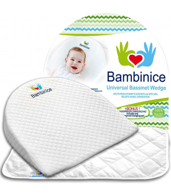 Bambinice Universal Bassinet Wedge - Infant Crib Pillow - Waterproof Changing Pad Liner  Portable Incline Cushion - Newborn Reflux and Nasal Congestion Reducer - Ebook - Perfect Baby Shower Gift