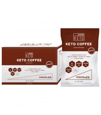 Kiss My Keto Chocolate Instant Coffee  Keto Coffee, Ketogenic Fat Coffee w Coconut Oil MCT Creamer for Ketosis and Ketone Diet. Low Carb, No Ghee Butter, Sugar Free Cafe Chocolate Coffee, 15 Servings