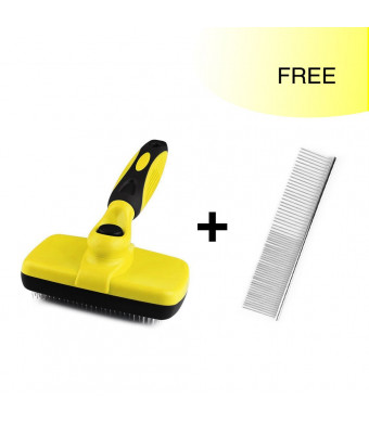 Nelipo Self Cleaning Slicker Brush, Professional Pet Grooming Brush For Small, Medium and Large Dogs And Cats, With Short to Long Hair
