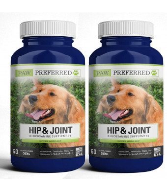 Paw Preferred Premium Canine Glucosamine Chondroitin with MSM for Dogs, Great All Natural Beef Liver Chews Supplement for Hip and Joints, Safe and Made in USA