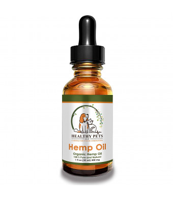 Healthy Pets Hemp Oil for Dogs, Dog Anxiety Relief, Hemp Oil for Pets, Dog Pain Relief, Oil for Dogs, Cat Anxiety Relief, Arthritis Pain, Hip Joint Pain, USDA Certified Organic