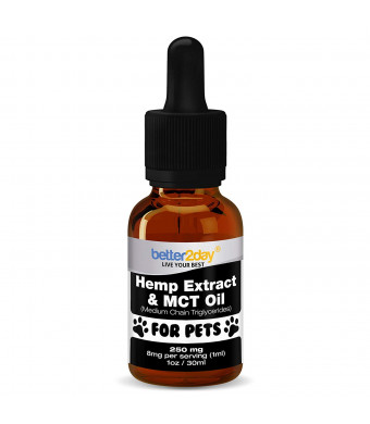 Better2Day Hemp Extract + MCT Oil for Dogs + Cats (250mg). From 100% Organic Colorado Grown Hemp By Rich in Omega 3, 6. Natural Anti Inflammatory. Great for Pets with Anxiety, Joint Pain, Arthritis