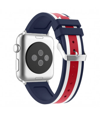 Aottom Compatible for Apple Watch Bands 38mm 40mm iWatch Series 4 Band Silicone Women Men Replacement Band with Metal Bracelet Wristband for iWatch Series 4 40mm / Series 3/2/1 38mm - Red/White/Blue