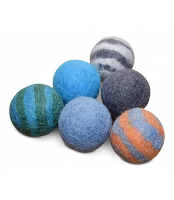 Comfy Pet Supplies Set of 6-100% Wool Felt Ball Toys for Cats and Kittens, Handmade Colorful Eco-Friendly Cat Wool Balls