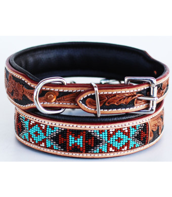 PRORIDER Dog Puppy Collar Cow Leather Adjustable Padded Canine 6064TL