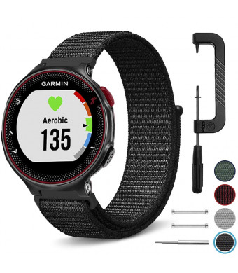 C2D JOY Sport Loop for Garmin Forerunner 220/230/235/620/630/735XT Replacement Bands GPS Smart Watch Woven Nylon Band No Buckle Needed - Black, One Size Fits 5.2-8.2in. Wrists