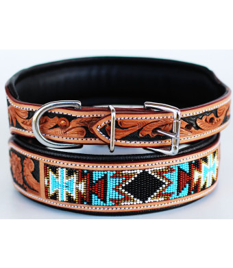 Dog Puppy Collar Cow Leather Adjustable Padded Canine 6082