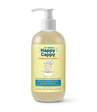 Dr. Eddie's Happy Cappy Daily Shampoo and Body Wash for Children, Dermatologist Tested, Fragrance Free, Dye Free, Sulfate Free Moisturizing Cleanser Soothes Sensitive Scalps and Skin, 8 oz