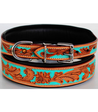 Dog Puppy Collar Cow Leather Adjustable Padded Canine 6086