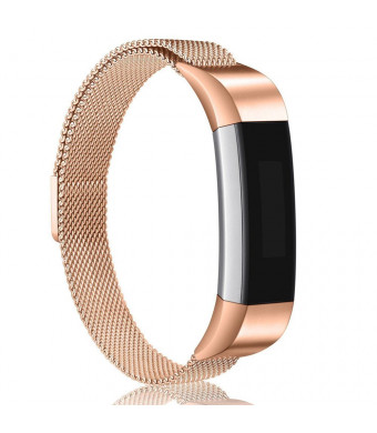 W-Q For Fitbit Alta HR and Alta Bands,Replacement Milanese Loop Stainless Steel Metal Bands with Magnetic Clasp Women Men Large Silver Rose Gold Black