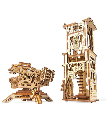 UGEARS Archballista-Tower Mechanical 3D Model, Wooden Brainteaser for Adults and Teens, Birthday Gift