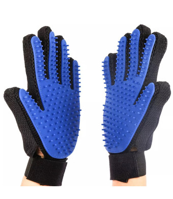 LIANYI Pet Grooming Glove Gentle De-Shedding Brush Dogs and Cats Long and Short Fur Hair Removal Mitt Comfortable Massage Tool Dark Blue 1 Pair Your Pet Will Love It