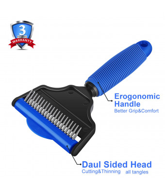 UUDCZ Grooming Comb, Dematting Tools With 2 Sided Professional Slicker Brush, Undercoat Rake For Long-Haired Dogs, Cats, Breed PetsBlue