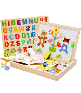 Wooden Magnetic Puzzles, OMGOD Letters Numbers Animals Jigsaw Easel Writing Drawing Board Chalkboard Double Side Dry Erase, Learning Educational Game Toy for Kids Toddlers Girls Boys 3 4 5 6 Years
