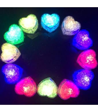 Hongtang 12Pcs Multicolors Love Heart Liquid Sensor Changing Blinking Flashing LED Light Up LED Ice Cubes Event Party Decoration